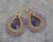 Amethyst and pink amethyst wire woven earrings in 14k gold filled