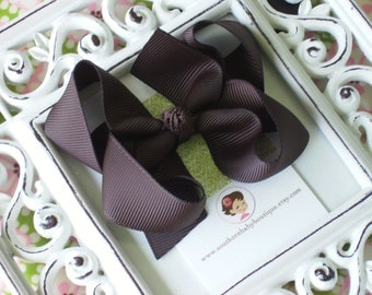 NEW ITEM------Boutique Medium Hair Bow Clip-----BROWN