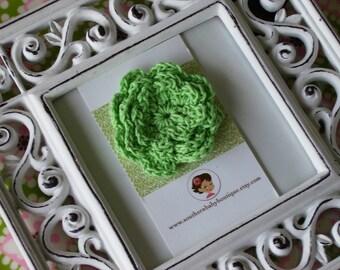 NEW ITEM----Boutique Crochet Flower Clip-----LINDSEY---Green---