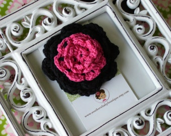 NEW----Boutique Two Toned Crochet Flower Clip-----Black and Shocking Pink-