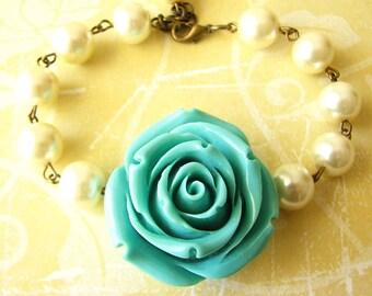 Bridesmaid Jewelry Flower Bracelet Turquoise Bracelet Charm Bracelet Pearl Jewelry Bridesmaid Gift Beaded Bracelet