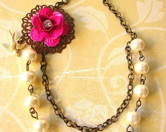 Bridesmaid Jewelry Flower Necklace Pearl Jewelry Pink Necklace Bridesmaid Gift Rose Necklace Beaded Necklace