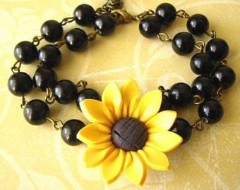Sunflower Jewelry Sunflower Bracelet Beaded Bracelet Bridesmaid Jewelry Flower Bracelet Flower Girl Bracelet Kids Jewelry