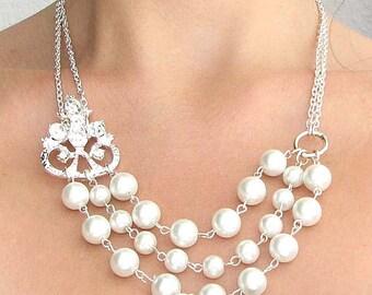 Bridesmaid Jewelry Pearl Necklace Wedding Jewelry Bridal Necklace Crystal Necklace