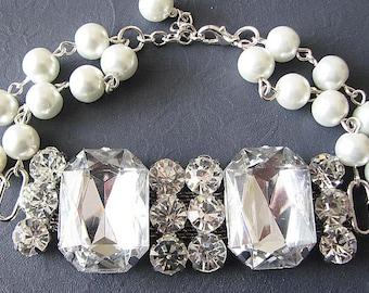 Wedding Jewelry Bridal Bracelet Bridal Jewelry Cuff Bracelet Rhinestone Jewelry Gift For Her