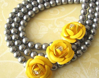 Statement Necklace Beaded Necklace Silver Jewelry Flower Necklace Bridesmaid Jewelry Gift For Her Bib Necklace