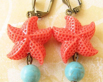 Starfish Earrings Starfish Jewelry Coral Earrings Turquoise Jewelry Dangle Earrings Summer Jewelry Beach Wedding
