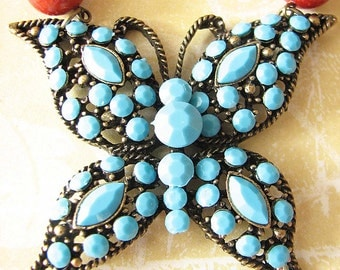Butterfly Necklace, Turquoise Jewelry, Coral and Turquoise Statement Necklace, Butterfly Jewelry Bib Necklace Statement Jewelry