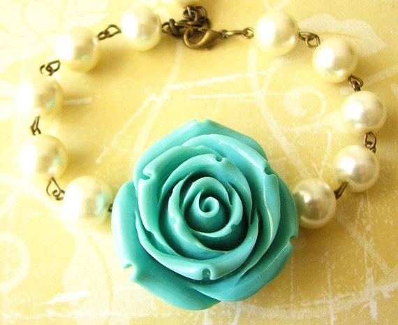 Bridesmaid Jewelry Flower Bracelet Turquoise Bracelet Pearl Jewelry Bridesmaid Gift Beadwork Charm Bracelet