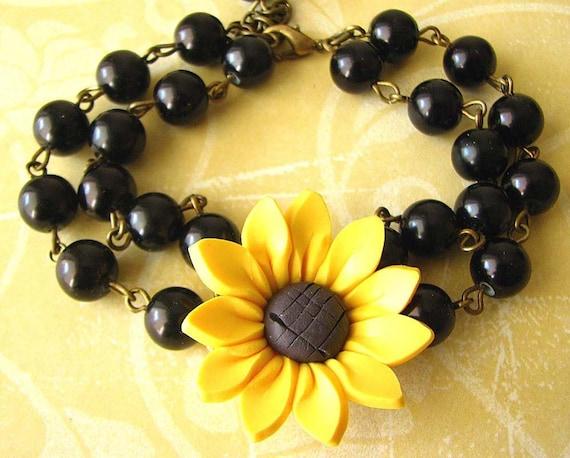 Sunflower Jewelry Sunflower Bracelet Beaded Bracelet Bridesmaid Jewelry Flower Bracelet Black Pearl Bracelet Charm Bracelet Gift For Her