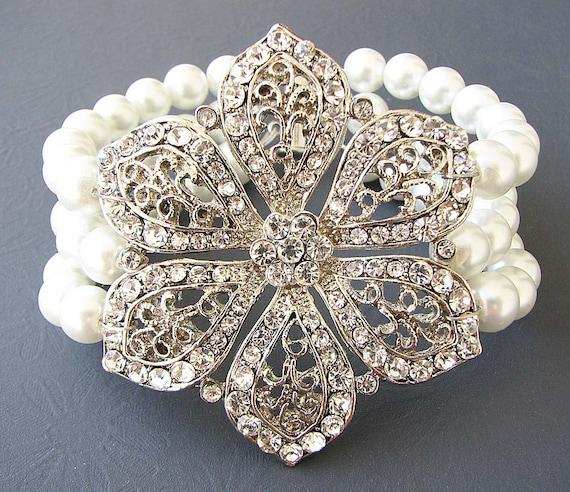 Bridal Bracelet Wedding Jewelry Set Bridal Jewelry Cuff Bracelet Flower Bracelet Triple Strand Crystals Rhinestone