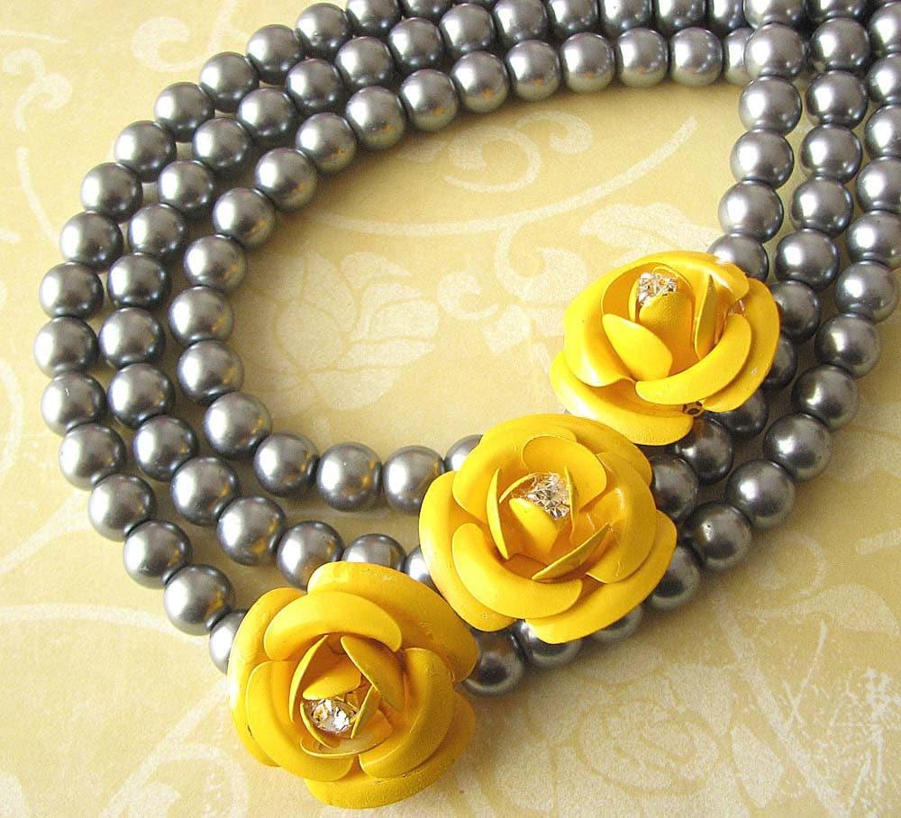 Yellow Statement Necklace Bridal Jewelry Bridesmaid Jewelry