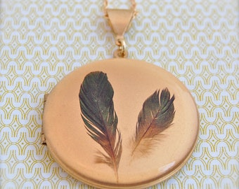 Vintage Locket Feathers Feather Jewelry Antique Necklace Necklaces Bird Birds Black Gold Brass Custom Photograph Jewelry Portland