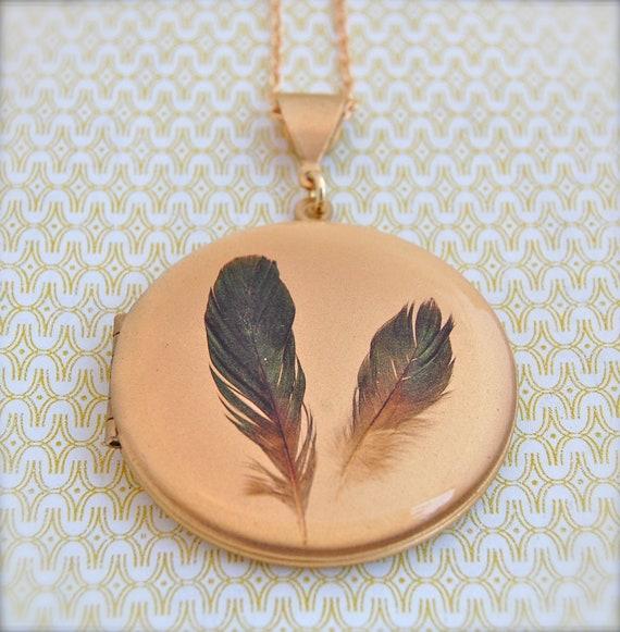 Vintage Locket Feathers Feather Jewelry Antique Necklace Necklaces Bird Birds Black Gold Brass Custom Photograph Jewelry Portland