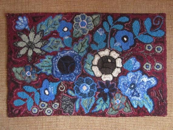 Reserved for Elizabeth Midnight Garden Hand Hooked Wool Thro Rug