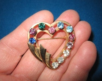 Vintage Lovely 12K Gold Fill Heart Colorful Brooch