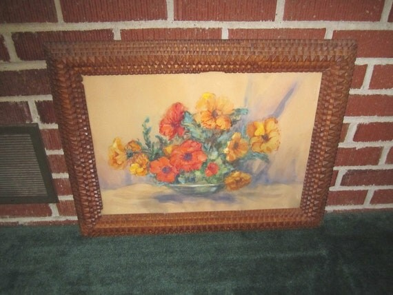 Antique Lovely Still Life Painting of Nasturtiums in Fabulous Tramp Art Frame