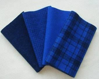 """Hand Dyed Wool Felt, LAPIZ BLUE, Four 6.5"""" x 16"""" pieces in Pure Royal Blue, Perfect for Rug Hooking, Applique and Crafts"""