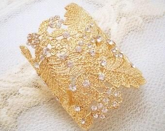 Cuff bracelet, bridal bracelet, gold bracelet, wedding jewelry, rhinestone bracelet, Swarovski crystal bracelet