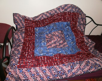 Patriotic patchwork quilt throw