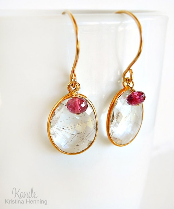 Sale rutilated quartz earrings 14k gold dangle gemstone by for Golden rutilated quartz jewelry
