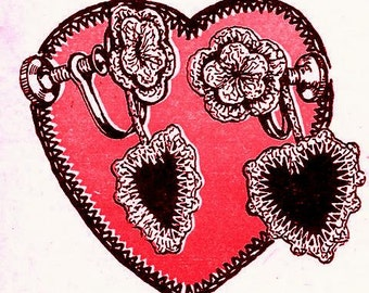 Heart Earrings Crochet Pattern 723082