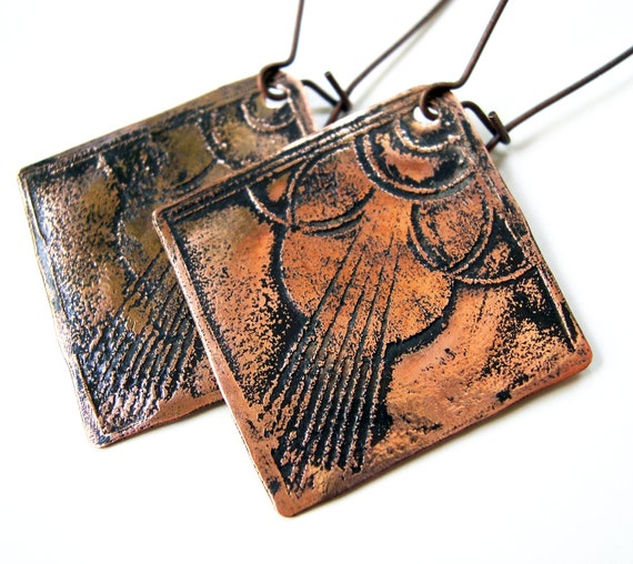 Etched Copper Earrings Art Deco