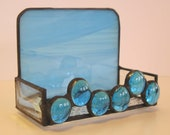 Stained Glass Business Card Holder - Sky Blue with Blue Glass Nuggets