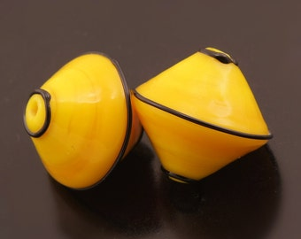 Lampwork Glass Beads Handmade Black Bright Yellow Bicones Bead Pair Heather Behrendt BHV SRA LETeam