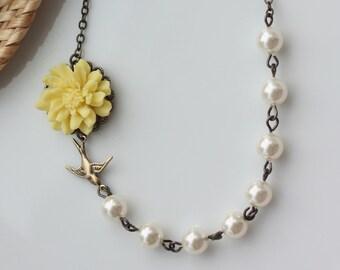 Wedding Jewelry Bridesmaid Necklaces Jewelry Yellow Chrysanthemum Mum Rose Flower  Flower Bird Swallow Ivory Swarovski Pearls Yellow Wedding