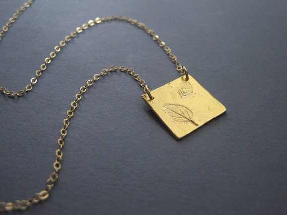 Leaf Necklace - Vermeil Leaf Necklace - Gold  Leaf Necklace - Autumn Leaf Necklace