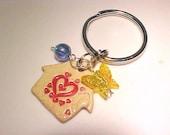 Red Heart Beaded Key Ring KEY Chain Pottery Wedding Favor Fan Pull Zipper Pull