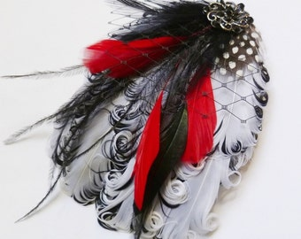 GENEVA II - White Black and Red Curled Goose Feather Fascinator or Headband