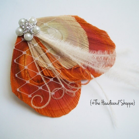Reserved - 2 Cream & Spice Hairclips