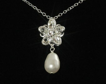 Swarovski Crystal Bridal Necklace, Crystal Flower Necklace, Rhinestone Pearl Wedding Jewelry, Crystal Pendant Necklace -- OLIVIA