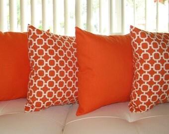 Elegant Orange Outdoor Pillow, Geometric Orange Pillow, Sundeck Orange And Hockley  Mandarin Outdoor Throw Pillow