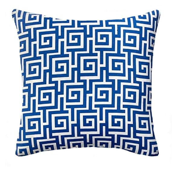 OUTDOOR PILLOW SALE - Blue Throw Pillow -  Mill Creek Oskar Sea Outdoor Maze Lumbar or Square Decorative Pillow -- Free Shipping