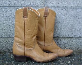 Nocona Cowboy Boots Vintage 1950s Butterscotch Tan Leather  7 Women's