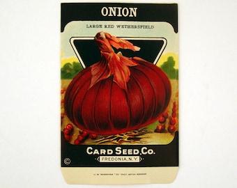 Seed Packet Vintage 1920s Unused Paper Red Onion