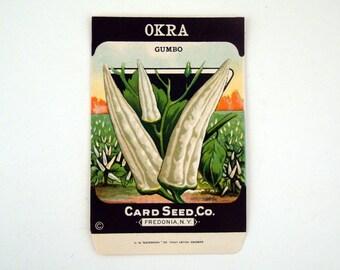 Vintage 1920s Unused Paper Seed Packet Okra