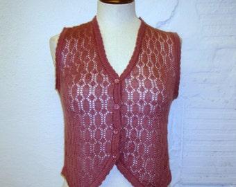 Knit Sweater Vest Vintage 1970s