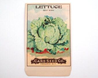 Vintage 1920s Unused Paper Seed Packet Lettuce