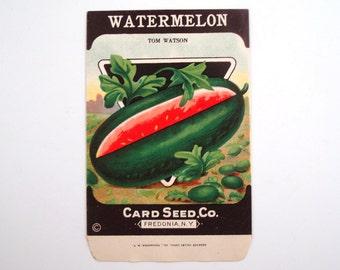 Vintage 1920s Unused Paper Seed Packet Watermelon