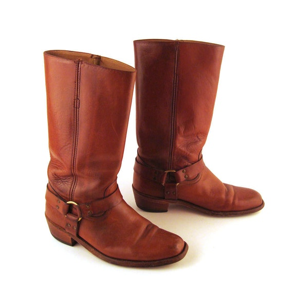 Frye Harness Boots Vintage 1980s Brown Leather Men's size 10 D