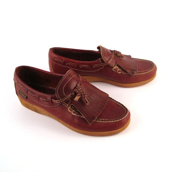 Brown Loafers  Moccasins Vintage 1970s Leather Slip on Shoes Women's size 7 Dexter Dex