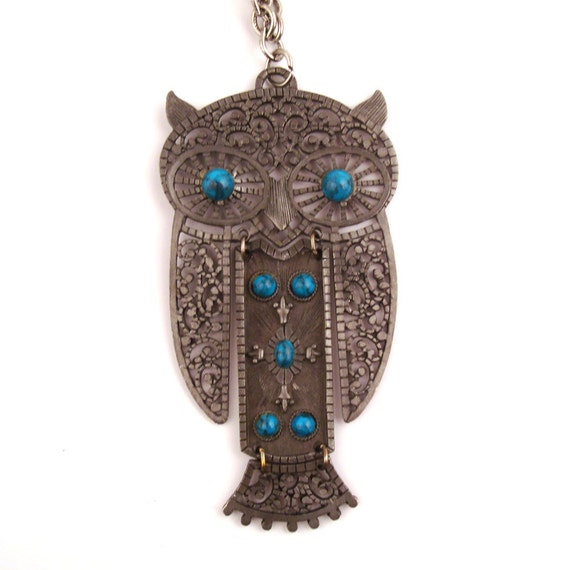 Vintage Owl Necklace 1970s Silver tone Metal Articulated Pewter Faux Turquoise
