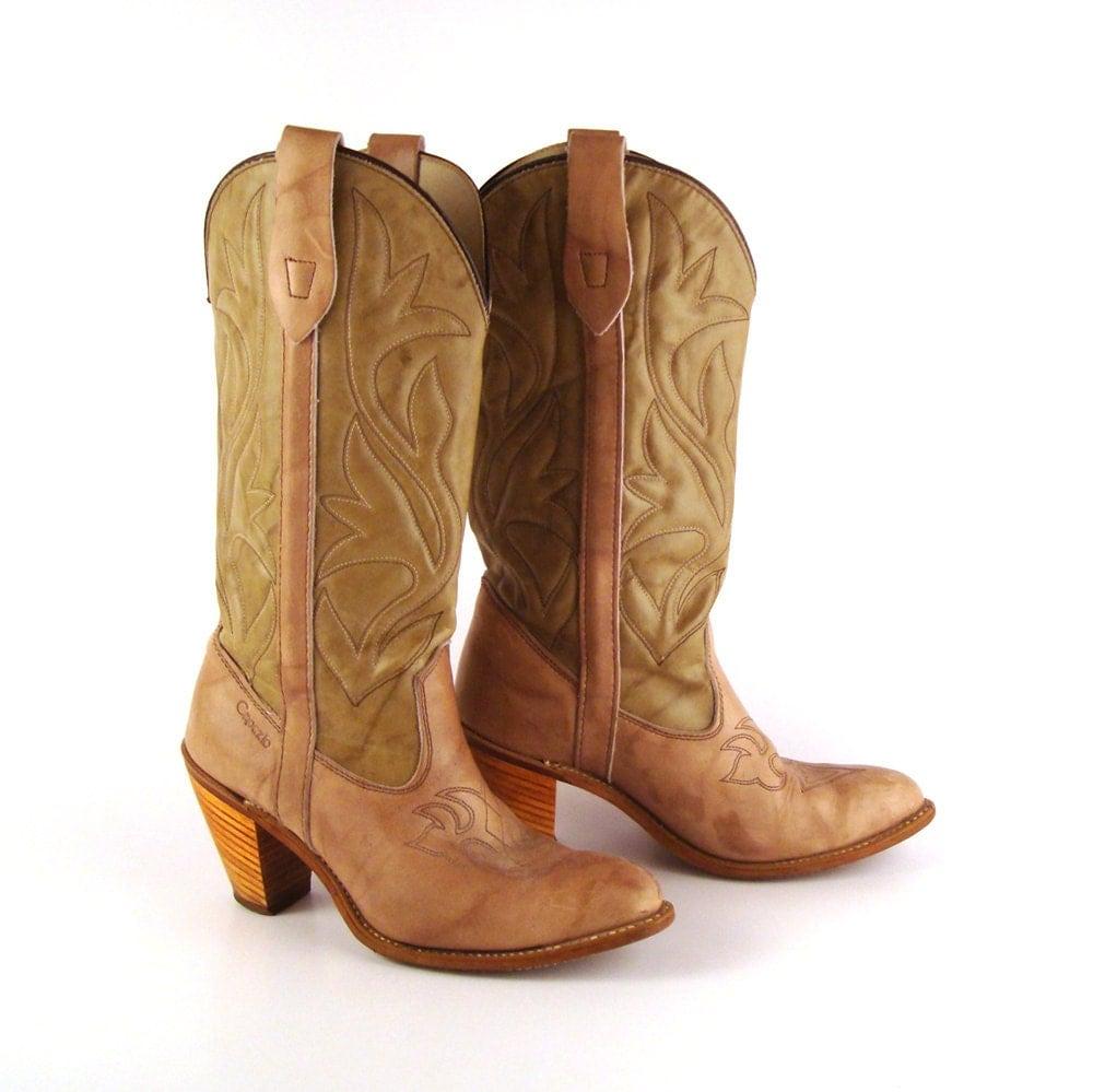 s cowboy boots vintage 1970s capezio taupe brown