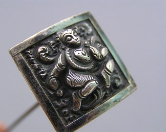 Antique Bristish Raj Hat pin Sterling Silver Indian Goddess Tribal jewelry