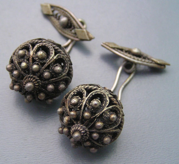 Antique Victorian Etruscan Style Silver  Maltese Filigree Beaded Cufflinks
