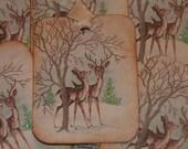 Baby Deers  Vintage Christmas Gift Tags